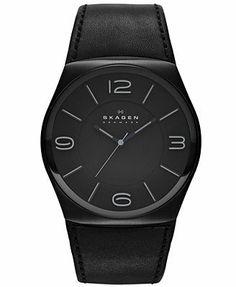 Skagen Denmark Watch, Men's Black Leather Strap 45mm SKW6043