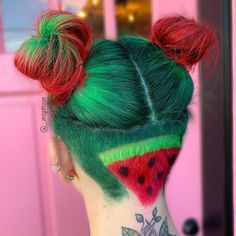 Undercut Hairstyles, Cool Hairstyles, Hair Undercut, Wedding Hairstyles, Short Green Hair, Wacky Hair, Shaved Hair Designs, Multicolored Hair, Coloured Hair