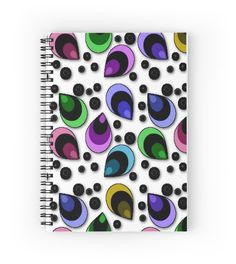 Whimsical Abstract Peacock Feathers Pattern | Hardcover journals also available in ruled line, graph, or blank.