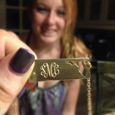 Monogrammed State Outline Nameplate Necklace