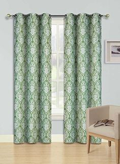 Gorgeous Home F12 1 PANEL BIG ANTIQUE FLORAL PRINTED SAGE GREEN 84 STANDARD SIZE THERMAL FOAM LINED BLACKOUT HEAVY THICK WINDOW CURTAIN DRAPE SILVER GROMMETS -- Read more  at the image link.