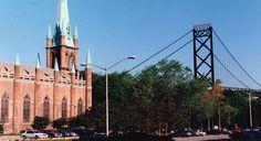 1995 Windsor, Ontario-Assumption Church and Ambassador Bridge