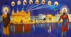 Golden Temple of Amritsar with the Ten Sikh Gurus (Reprint on Paper - Unframed) Guru Nanak Wallpaper, Guru Nanak Ji, Happy Navratri Images, Guru Granth Sahib Quotes, Harmandir Sahib, Golden Temple Amritsar, Lord Hanuman Wallpapers, Guru Gobind Singh, Glass Painting Designs