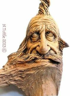 ORIGINAL WOOD SPIRIT CARVING SILLY TOP KNOT MINI NUTTY WIZARD OOAK NANCY TUTTLE
