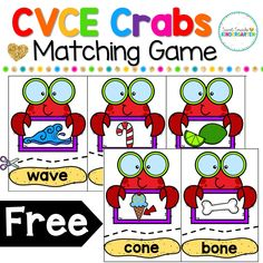 The school year is almost over, and it's time to start working on CVCE words and long vowels with my students. I love using themed centers during our reading and phonics time. These CVCE crab… Kindergarten Centers, Kindergarten Reading, Kindergarten Classroom, Teaching Reading, Guided Reading, Classroom Decor, Close Reading, Teaching Tips, Literacy Stations