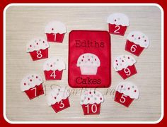 Cupcake Felt Game - Matching Number Game - Cupcake Frosting - Cake Base - Numerical Numbers - Storage - Felt Game - Toddler Game - Quite Book Game