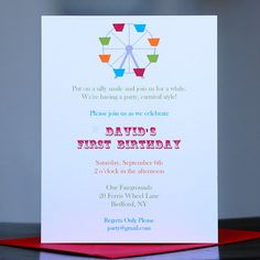 Circuscarnival birthday invitation ticket vintage stripe carnival birthday invitations stopboris Images