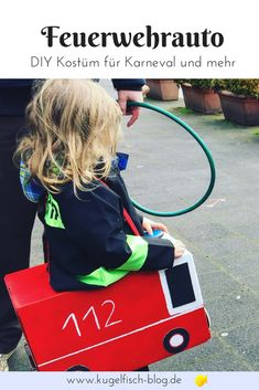 DIY costume for Carnival, Halloween or for the next themed party! A fire truck can easily be tinkered by yourself. Add a ready-made fireman costume and off you go to the firefighting kit! Fruit Costumes, Diy Costumes, Fireman Costume, Pineapple Costume, How To Lean Out, Origami Easy, Halloween Costumes For Kids, Fire Trucks, Single Crochet