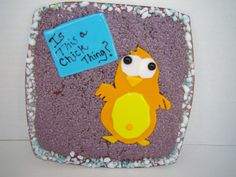 Little chick in fused glass serving tray, cookie plate, cheese plate, whimsical, for him, for her, hostess gift, animal lover, bird lover, by HighfireGirl on Etsy