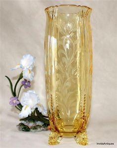 Rare Heisey Glass Empress Sahara Yellow Footed Celery Vase Thistle Etching 1401 #Heisey
