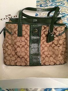 Authentic NWT Coach Signature C Brown Purse With Forest Green Snake Detail! RARE  Have it and Love it!