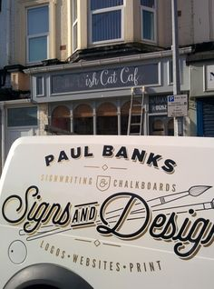 Hand lettered cafe facia Sign in Bridlington Vintage Graphic Design, Graphic Design Typography, Signage Design, Branding Design, Design Packaging, Van Signwriting, Van Signage, Truck Lettering, Vehicle Signage