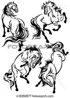 satz, von, pferden, tätowierung Große Clipart Grafik anschauen