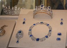 A suite (or parure) of diamonds and sapphires that belonged to Empress Josephine Bonaparte