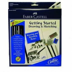 Faber-Castell Creative Studio Getting Started Drawing & Sketching Set drawing & sketching set by Faber-Castell. $14.95. 092633801208. Brand New Item / Unopened Product. Faber-Castell. 800052. This complete set has everything the student, artist or hobbyist needs to get started drawing and sketching.The set comes with four graphite pencils, two charcoal pencils, one blending torchon, pencil sharpener, dust-free eraser, and acid-free watercolor pad. It also comes with a 2...