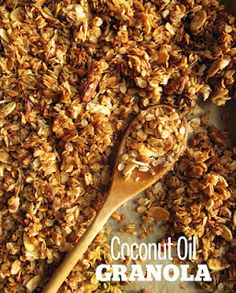 Coconut Oil Granola Recipe. Smells amazing while baking and tastes fantastic!! (Made it twice in one afternoon!)