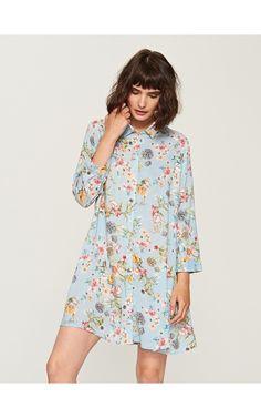 Kvetované šaty, Šaty, modrá, RESERVED