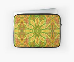 """""""Sun Flower, bohemian floral pattern, yellow, green & orange"""" Laptop Sleeves by clipsocallipso 