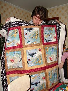 I dapple around in sewing and knitting. Here are a few of my projects. Airplane Quilt Lap Quilt/Baby Quilt This is a quilt I . Man Quilt, Boy Quilts, Quilt Baby, Airplane Quilt, Boys Quilt Patterns, Quilting Designs, Quilting Ideas, Learn To Sew, Concept