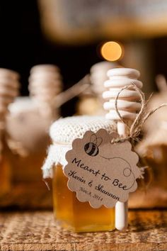 "This is such a cute wedding favor idea! Mini honey that says ""Meant to Bee"""