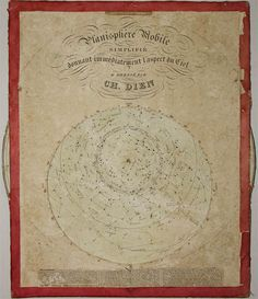 ACCORDING TO PLANISPHERE: This planisphere (portable star finder) with rotating dials was produced by Charles Dien, Jr. in 1839. Eight years earlier Dien had introduced an innovation in celestial maps that he also used here -- instead of pictorial illustrations of the constellations, straight lines connect the principal stars. This more closely approximated the actual appearance of the skies while providing enough visual cues to assist amateur astronomers in recognizing the patterns.