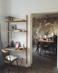 scandinavian wooden work desk - hanging desk shelf - vintage interior - rustic elements