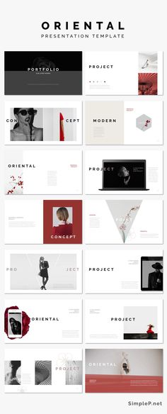 Oriental PowerPoint Presentation Template #minimalist #oriental #red #cherryblossoms #spring #flower #marketing