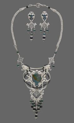 Bib-Style Necklace and Earring Set with Wirework, Gemstone Beads and Cabochons and Viking Knit - Fire Mountain Gems and Beads