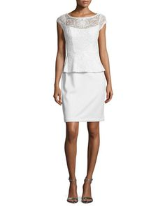 Lace+Peplum+Sheath+Cocktail+Dress+by+Sue+Wong+at+Neiman+Marcus.