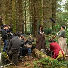 You're surrounded, soldier. There's no escaping Claire, Jenny and the #Outlander crew. @caitrionabalfe #BehindTheScenes