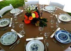 Vintage blue china mixed and matched on a wedding reception table. - Southern Vintage Table