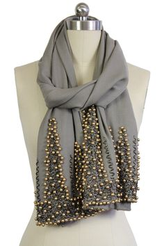 Grey Gold Beaded Wrap by Saachi. it wouldn't be too hard to bead one of my own scarfs Basic Outfits, Cute Outfits, French Fashion Designers, Grey And Gold, Fashion Beauty, Womens Fashion, Casual Elegance, Scarf Styles, Girly Things