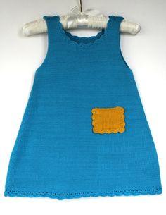 Girls summer dress. Knitted. Blue by Leiladelle on Etsy, £25.50