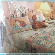 Vtg Kit Kat Sheet Pillowcase Set Cats Full Size NIP Floral Perma-Prest Muslin #Sears