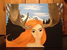 Moose girl! La Panachée!  350$ Moose, Disney Characters, Fictional Characters, Deco, Disney Princess, Painting, Art, Art Background, Elk