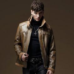 HOT 2016 New fashion casual wind baroque fashion leather clothing winter coat thickening plus velvet leather jacket  #Affiliate