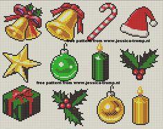 Intricate Xmas icons X-stitch patterns Christmas Perler Beads, Cross Stitch Christmas Ornaments, Xmas Cross Stitch, Beaded Cross Stitch, Christmas Embroidery, Christmas Cross, Cross Stitching, Cross Stitch Embroidery, Cross Stitch Designs