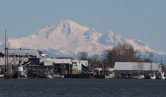 Mount Baker appears to watch over the boats moored in Steveston Village.  #mtbaker #mountbaker #explorebc #pnw #discoveroutdoors