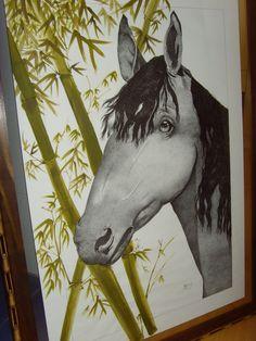HORSE - Pontilhismo em nanquim - Bamboo pintado com tinta acrílica por M.DenizeC.