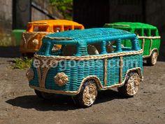 vw volkswagen camper bus hippie hippy van minibus minivan rattan wooden wood model wicker weaving planting bali indonesia handmade toy big l...