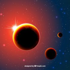 Background of illuminated planets Free Vector