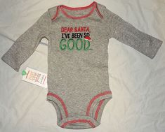 8273e311d4cc New Baby Carters First Christmas Outfit Kiss Dear Santa Good Sizes Newborn
