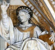 detail of a statue of Pope Saint Hyginus; date unknown, artist unknown; portico of Saint Peter's Basilica, Vatican City, Rome, Italy; photographed in May 2006 by Bocachete; swiped from Wikimedia Commons; click for source image