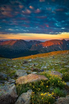 Sunrise along the Trail Ridge Road in Rocky Mountain National Park. The highway through the park in Colorado is the highest elevation trip in the country. With several miles of the road above 12,000 feet the highway takes visitors through an alpine tundra for a unique experience only witnessed in the Lower 48. You would have to travel to the Arctic Circle to visit an ecosystem such as this. Photo by Kyle Spradley | © Kyle Spradley Photography | www.kspradleyphoto.com