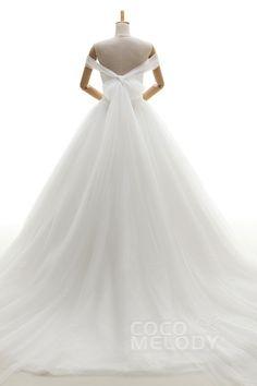 モダン プリンセスライン オフショルダー コートトレーン ソフトチュール 挙式ドレス ウェディングドレス JWLT16003
