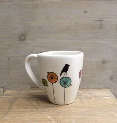 Bird ceramic coffee cup mug gift for the bird by catherinereece $22.00