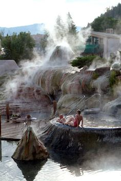 Steam at hot springs on river in Pagosa Springs, CO