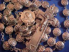 Custom CELTIC KNOT 5 Decade Rosary Silver Oxidized Metal IRISH Penal Crucifix