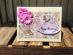 Happy Birthday Card Wood FlowersFlowers and by CountryShades