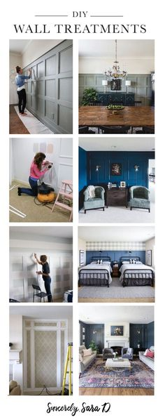 DIY Wall Treatment Tutorials: square paneled wall, board and batten, elegant wall paneling, and decorative wall molding. Diy Home Decor Projects, Fall Home Decor, Cool Diy Projects, Diy Wall Art, Diy Wall Decor, Farmhouse Style Decorating, Farmhouse Decor, Wall Molding, Home Decor Inspiration